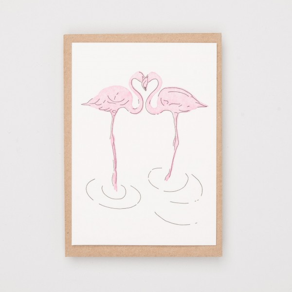 "Grußkarte ""Flamingo Love"""