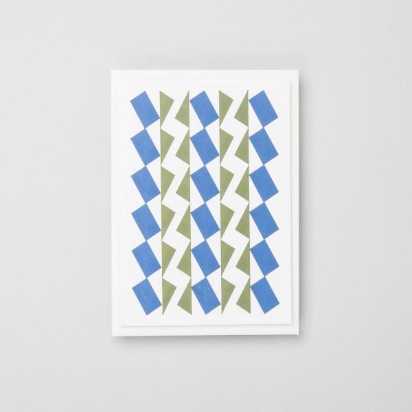 """Letterpress Klappkarte """"Dancers"""" blau olivgrün"""