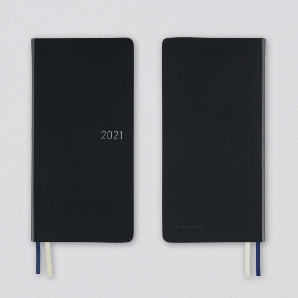Hobonichi 2021 Kalender Weeks Leather Shadow Black