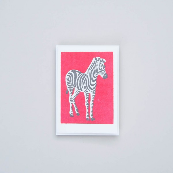 "Archivist Letterpress Klappkarte ""Zebra in red"""
