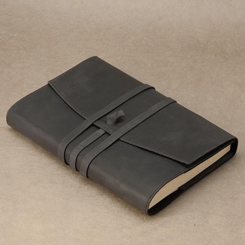 """Papoutsi Notizbuch A5 """"Poet II"""" aus schwarzem High Chaparral Leder zum Wechseln"""