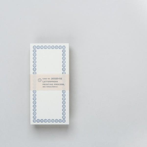 Notizkarten 48 x 100 mm (50 St.) mit blauem Rahmen