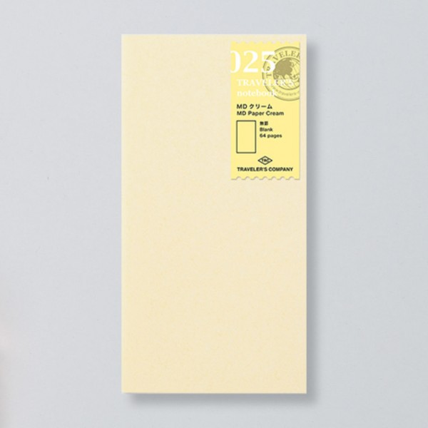 """Midori"" Traveler's Notebook Regular Size Refill ""025"" MD creme"