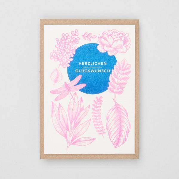 """Hungry Paper Grußkarte """"Herzlichen Glückwunsch"""" blau"""