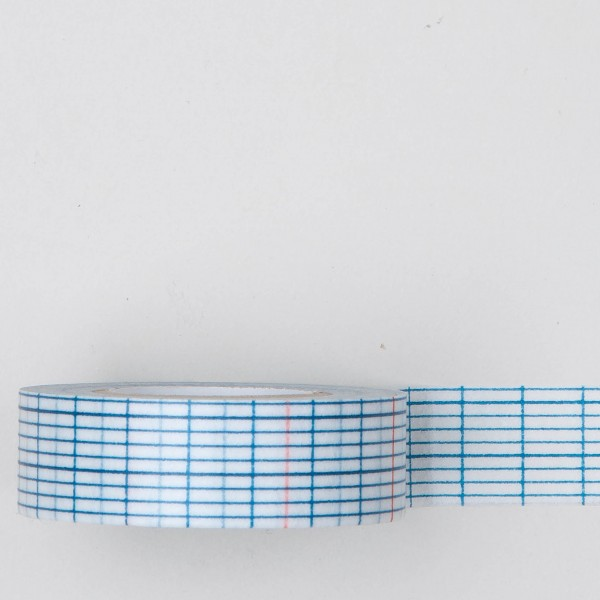 Masking Tape längliches Karomuster blaue und rote Streifen mittel