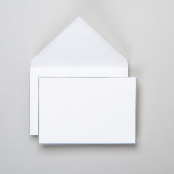 Karte & Umschlag handgerändert in silber klein