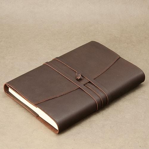 """Papoutsi Notizbuch A5 """"Poet II"""" aus braunem High Chaparral Leder zum Wechseln"""