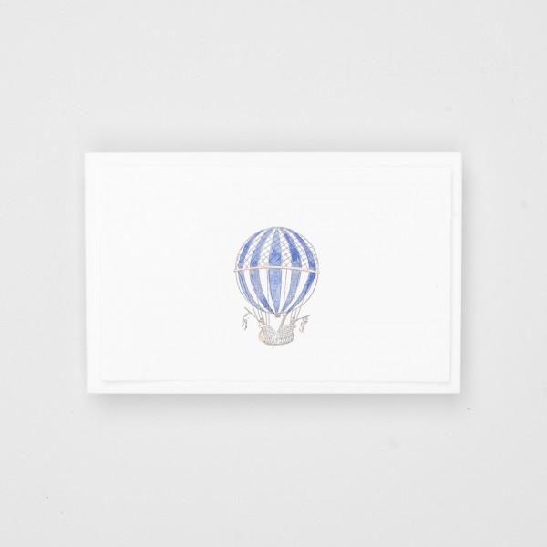 """Grußkarte """"Kleine Ballonfahrer"""" blau"""