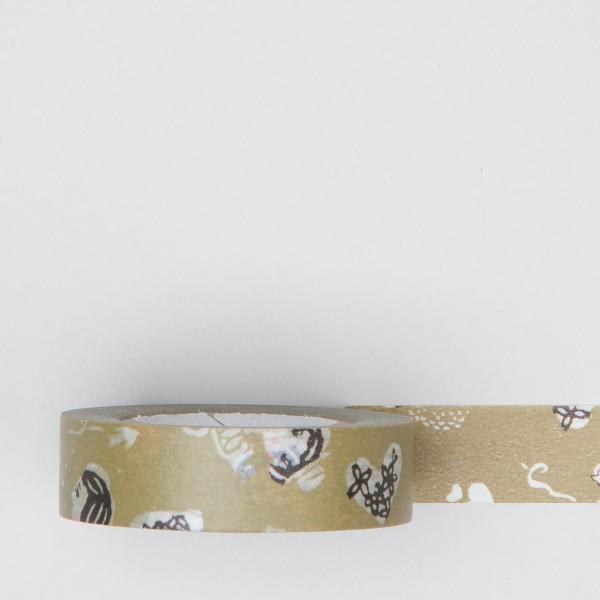 """Masking Tape """"Mädchen und Herzen"""" olivgrün"""