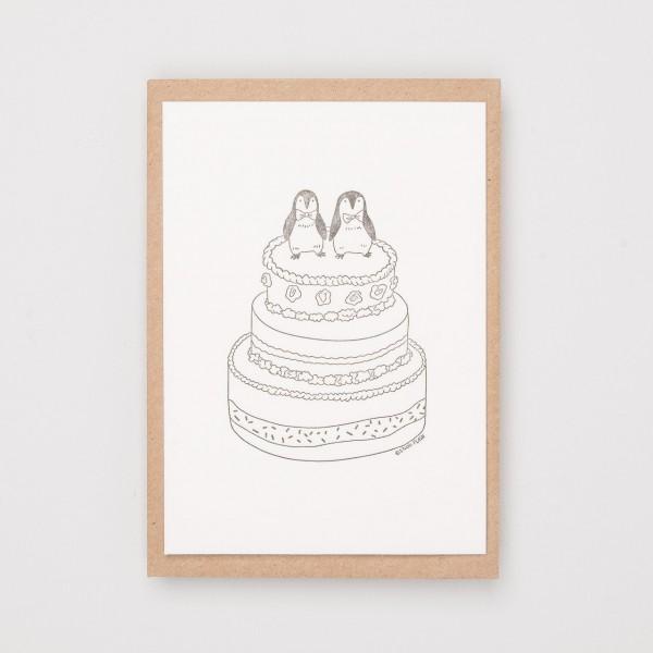 "Grußkarte ""Penguin Wedding"""