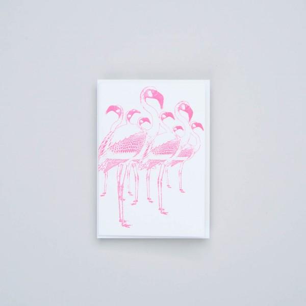 "Letterpress Klappkarte ""Flamingo"""