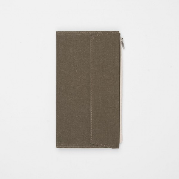 STORE ONLY: Traveler's Factory Zipper Case Regular Stoff khaki
