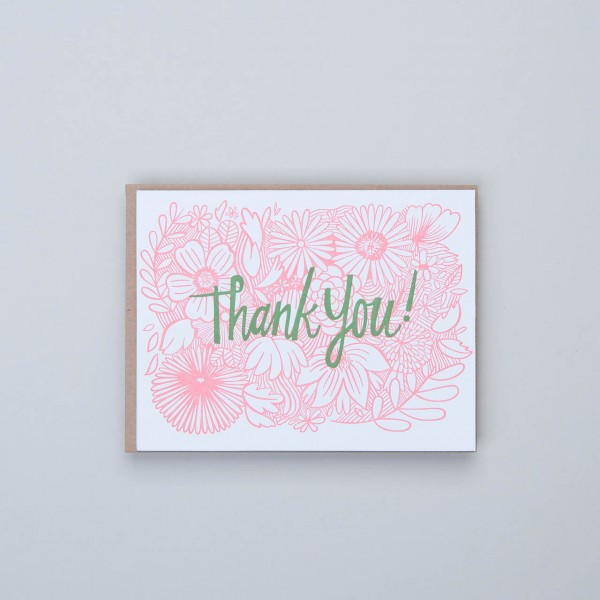 "Klappkarte Letterpress ""Thank You!"" rosa Blüten"
