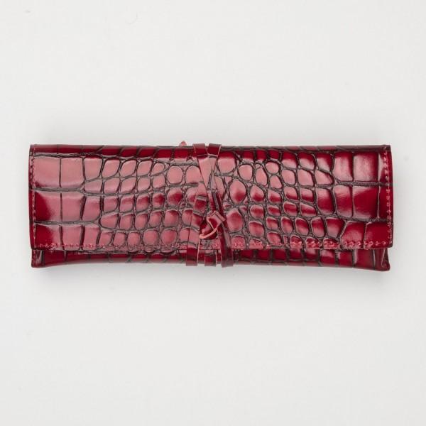 Papoutsi Schreibetui Paris aus Leder in Kroko-optik lava rot