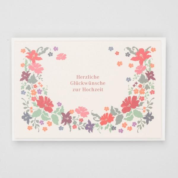 Klappkarte Glückwünsche zur Hochzeit Blumenkranz