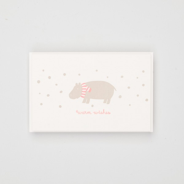 """Grußkarte """"Warm Wishes"""" Hippo"""