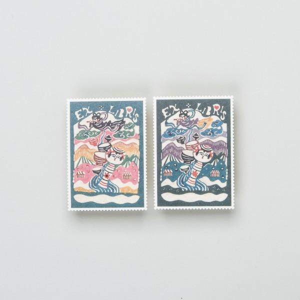 """Verschlussmarken Exlibris """"Kokeshi"""" blau"""