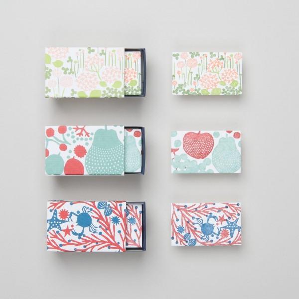 """Japanische mini-Notizkarten """"Blumenwiese"""", """"Apfel & Birne"""" und """"Strand"""""""